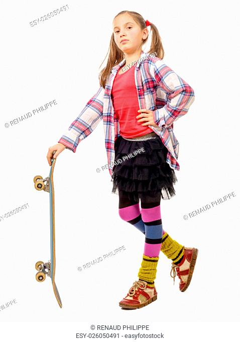 a pretty little girl with skateboard over white background