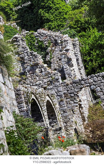 Remains of old town Bar in Montenegro stone wall