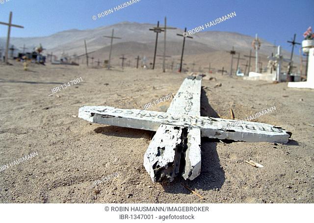 Cemetery in the Atacama Desert near Arica, Chile, South America