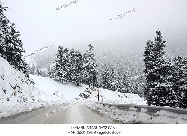 The road up to Arachova ski resort. Kellaria, Parnassos, Arachova, Viotia, Central Greece, Europe