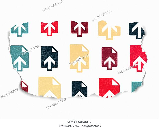 Web development concept: Painted multicolor Upload icons on Torn Paper background, 3d render