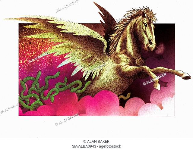 Fantasy image of gold pegasus in pink clouds