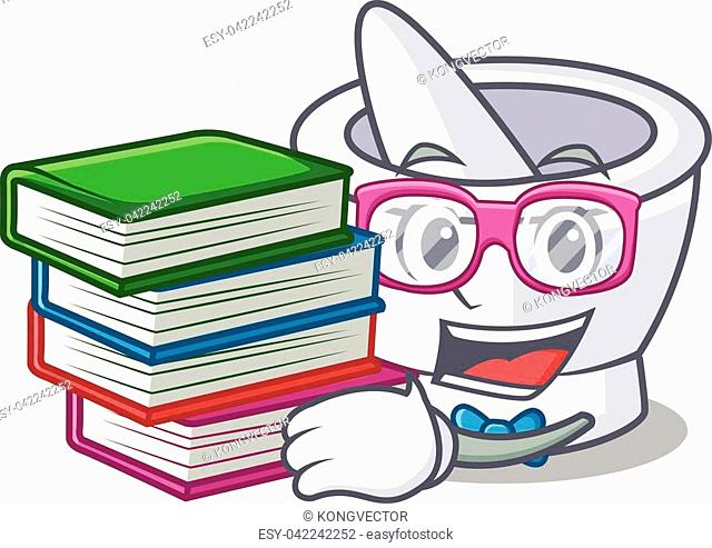 Student with book mortar mascot cartoon style vector illustration