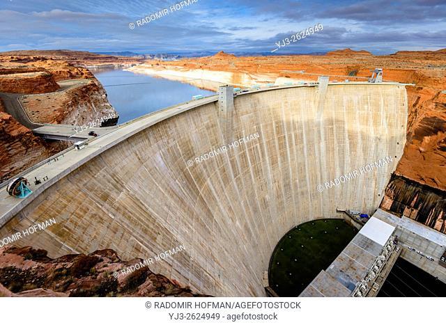 Glen Canyon Dam is a concrete arch dam on the Colorado River in northern Arizona, USA