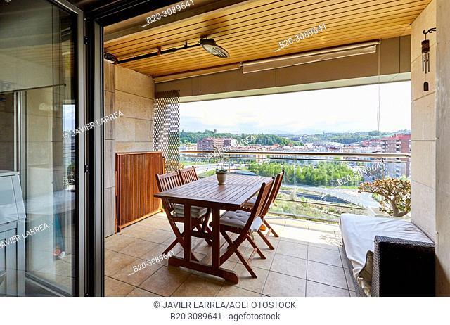 Terrace, Apartment housing, Donostia, San Sebastian, Gipuzkoa, Basque Country, Spain, Europe