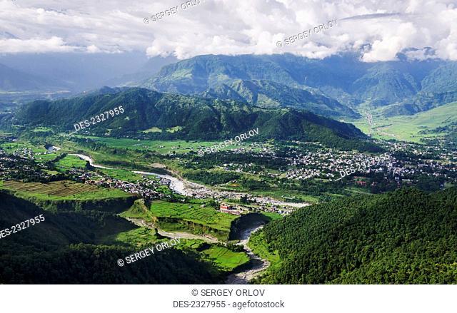 View of city and valley from Sarangkot mountain; Pokhara, Nepal
