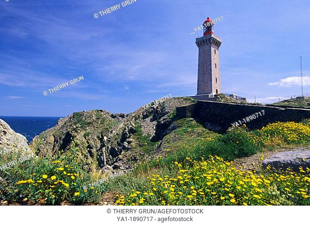 Lighthouse of Cape Bear, Port Vendres, Eastern Pyrenees, Languedoc-Roussillon, France