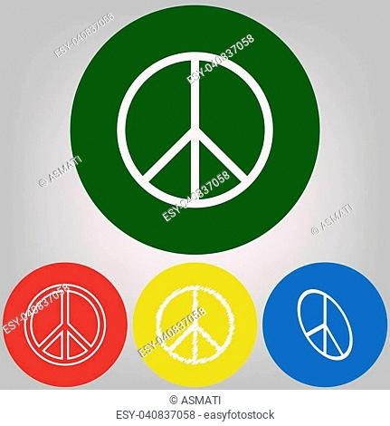 Peace sign illustration. Vector. 4 white styles of icon at 4 colored circles on light gray background