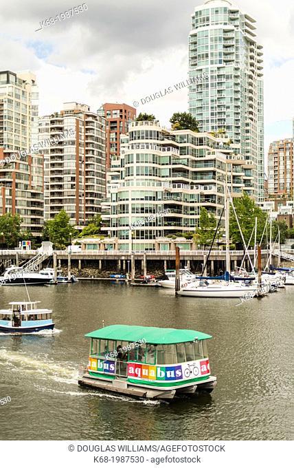 passenger ferries cross False Creek, Vancouver, BC, Canada