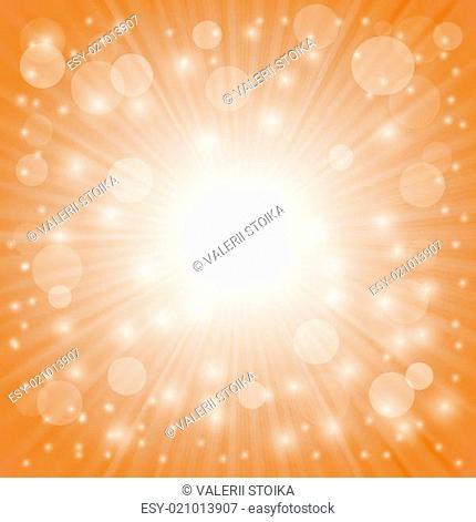 Sun Burst on Orange Background. Ray Background with Stars