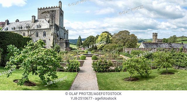 Panorama of Buckland Abbey and Gardens, a 700-year-old house in Buckland Monachorum, near Yelverton, Devon, England