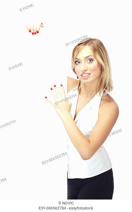 Smiling lady holding blank paper billboard