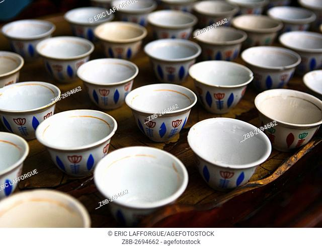 Ethiopia, Semien Wollo Zone, Woldia, table with traditional empty coffee cups
