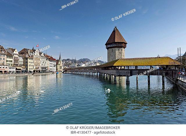 Kapellbrücke, or Chapel Bridge, Lucerne, Canton of Lucerne, Switzerland