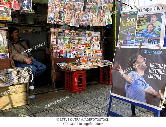 Newspaper kiosk and media coverage of Uruguay's 2010 World Cup Football Team  Montevideo, Uruguay, South America