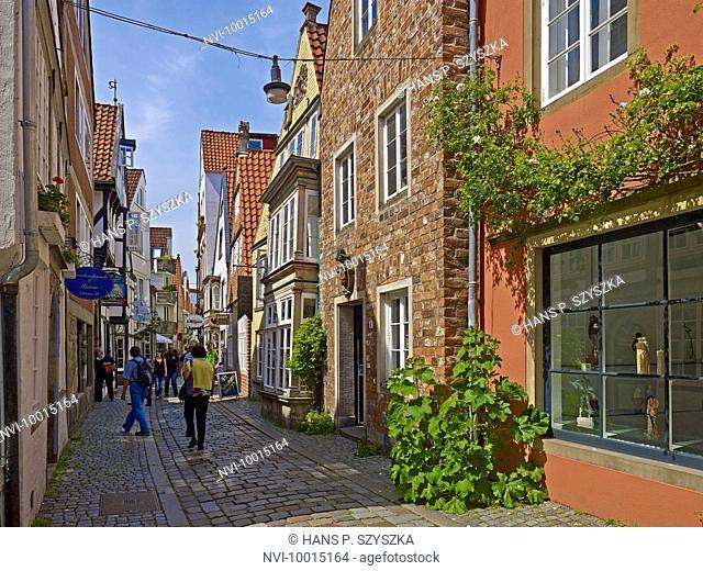 Houses in the Schnoor quarter Hanseatic city of Bremen, Bremen Germany