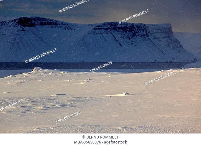 Iceland, west fjords, winter scenery in the Dyrafjördur close Pingeyri