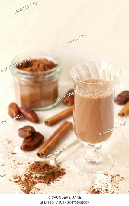 Hot chocolate with almond milk, cinnamon and dates