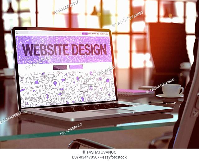 Website Design Concept. Closeup Landing Page on Laptop Screen in Doodle Design Style. On Background of Comfortable Working Place in Modern Office