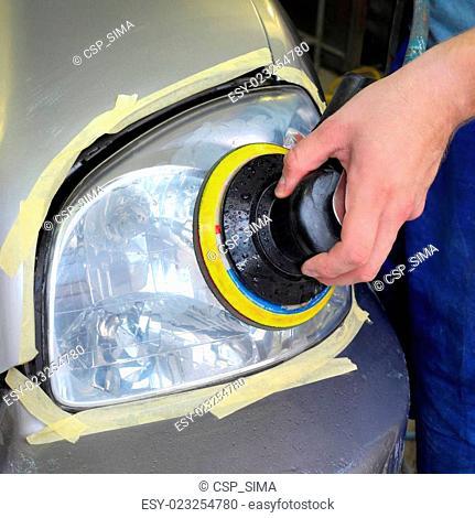 Car light repairing, hand and tool