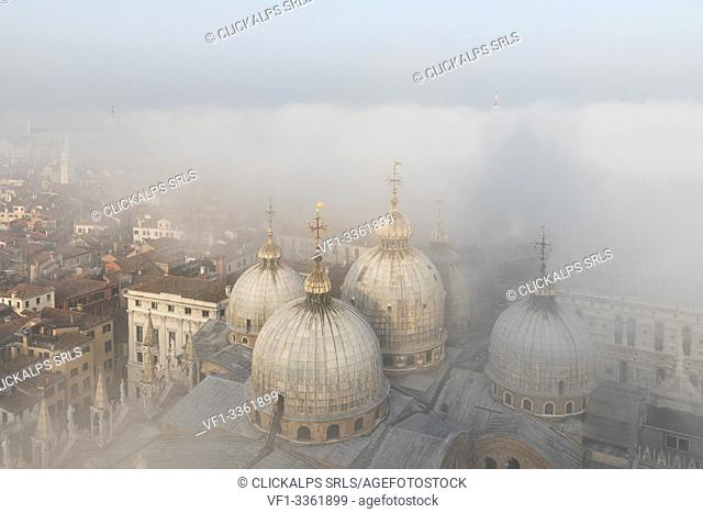 Fog bank over Cathedral Basilica of Saint Mark, Venice, Veneto, Italy, Europe