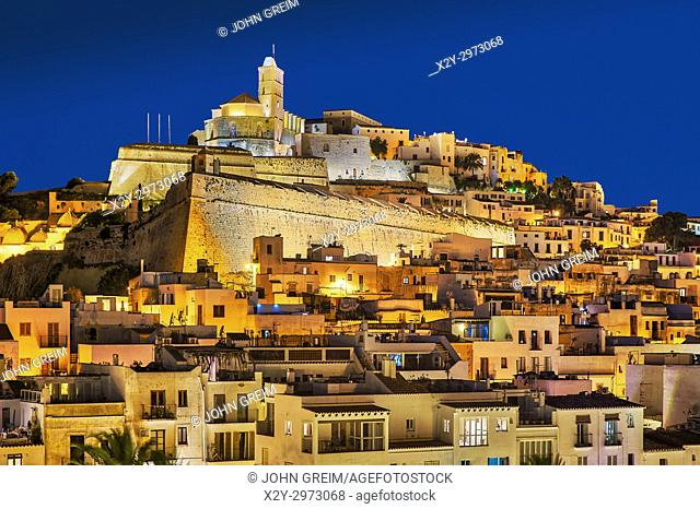 Ibiza Town and the cathedral of Santa Maria d'Eivissa at night, Ibiza, Balearic Islands, Spain