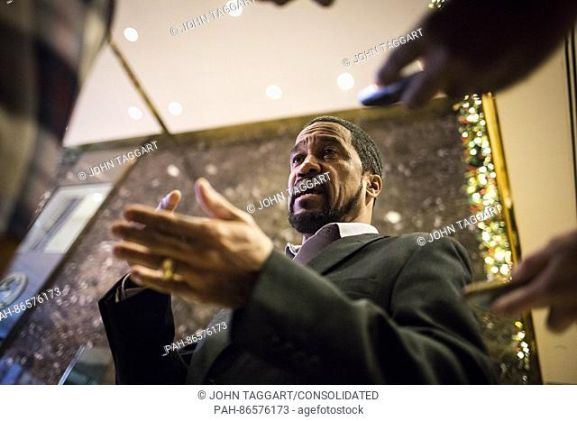 Darrell Scott, a Cleveland pastor and Trump supporter speaks to media inside the lobby of Trump Tower in Manhattan, New York, U.S