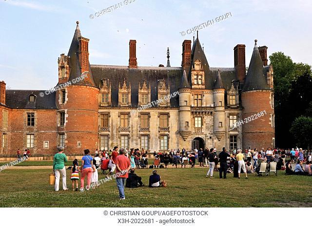 spectators waiting for the night show at the Chateau de Maintenon, Eure & Loir department, region Centre, France, Europe
