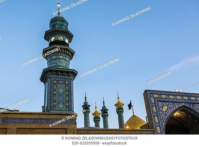 Minarets of Fatima Masumeh Shrine in Qom city in Iran