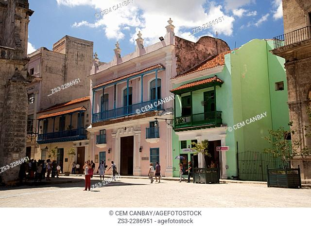 Colorful colonial houses at Plaza Vieja square, Havana, Cuba, West Indies, Central America
