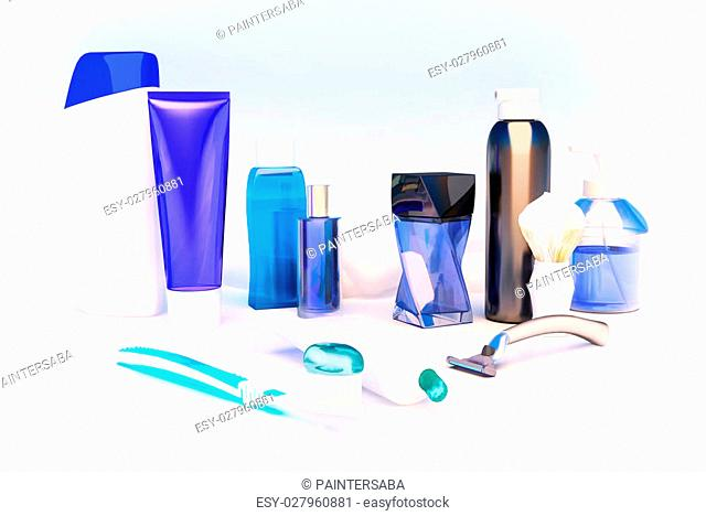 Toothpaste, brush, soap, balm, razor, shaving brush, towel, shampoo,perfume
