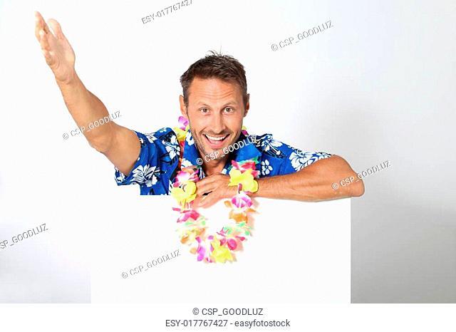 Man with Hawaiian shirt on white background