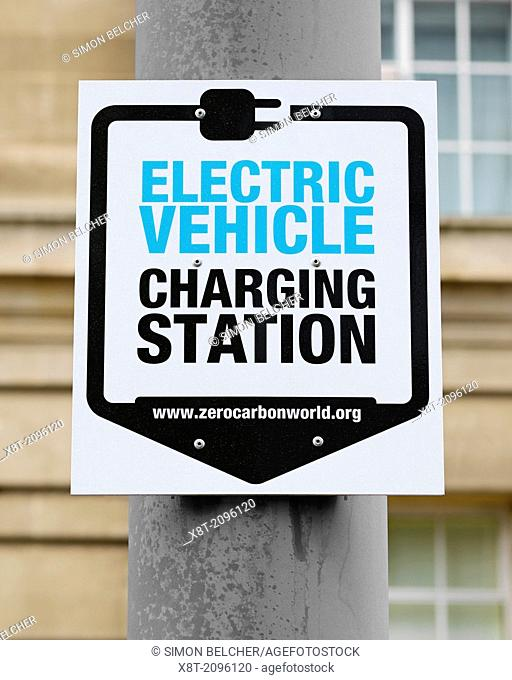 Sign for an Electric Vehicle Charging Station, Westminster, London, UK