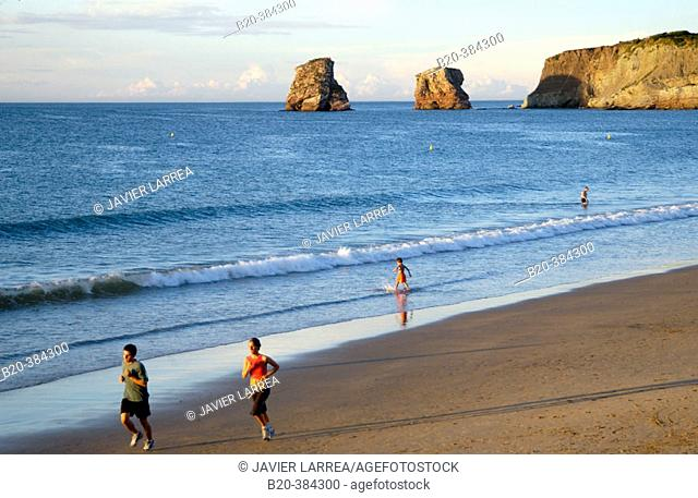 Beach. Twin rocks to the rear. Hendaye. Aquitaine. France