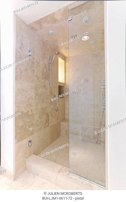 Large shower in contemporary home, Santa Fe, New Mexico, USA