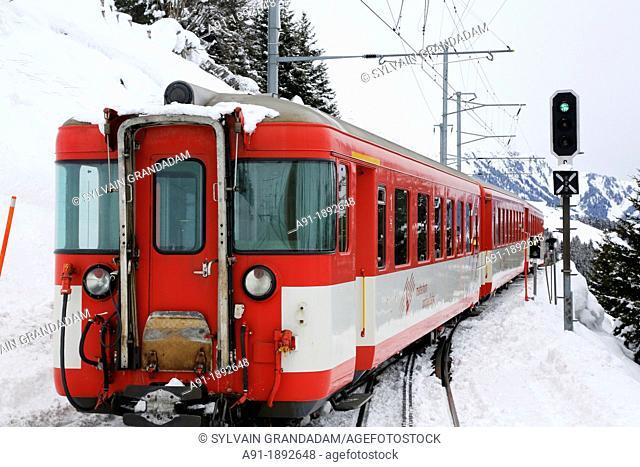 Switzerland, The Graubunden canton, the glacier express train, mountain rack train from Saint-Moritz to Zermatt