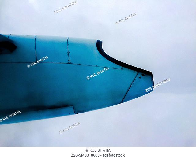 A small aeroplane in flight, photographed from a passenger's seat, Ontario, Canada