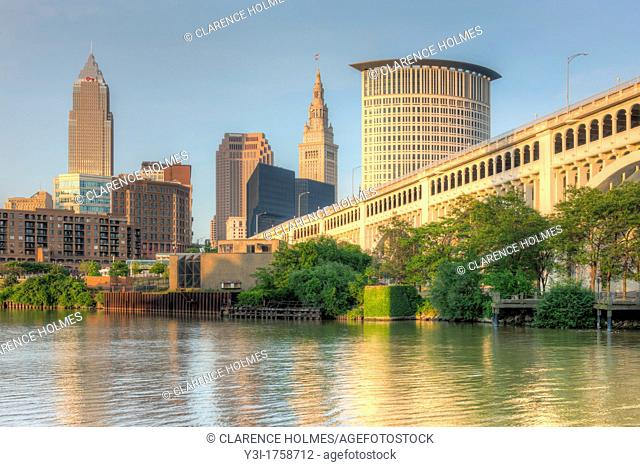 The skyline of Cleveland, Ohio, USA as viewed over the Cuyahoga River from the Flats