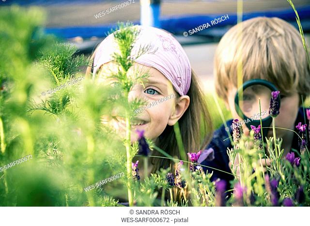 Brother and sister watching flowers with magnifying glass