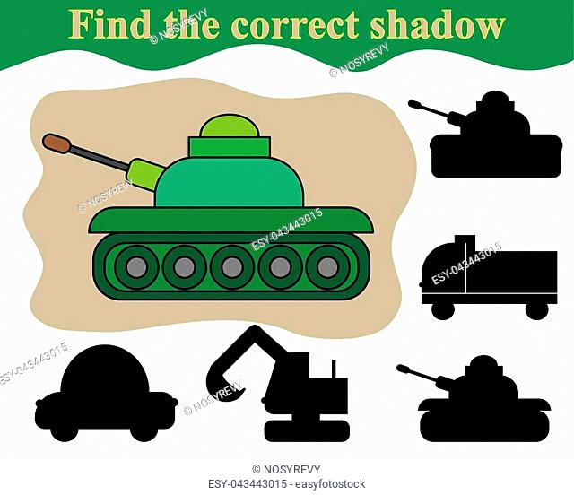 Find the correct shadow of tank. Educational game for children