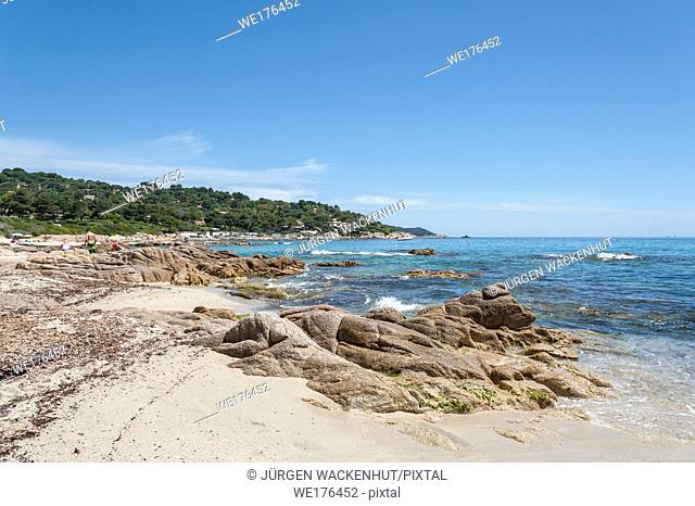 Coast at the beach of l'Escalet, Ramatuelle, Var, Provence-Alpes-Cote d`Azur, France, Europe