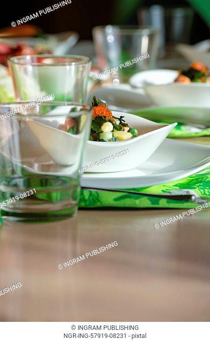 Caviar salad on table at restaurant