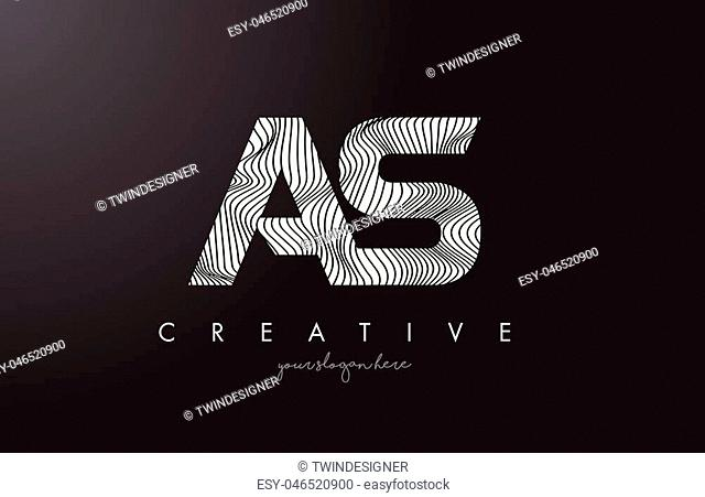 AS A S Letter Logo with Zebra Lines Texture Design Vector Illustration