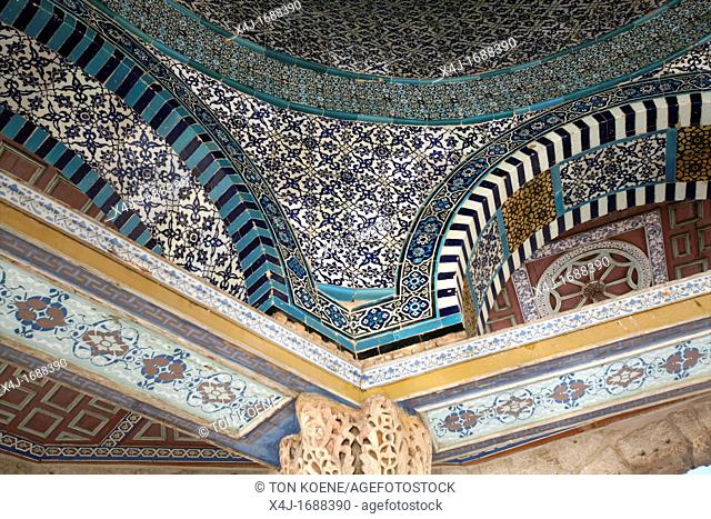 The mosaic interior cupola of the Dome of the Rock on Temple Mount in the Old City of Jerusalem