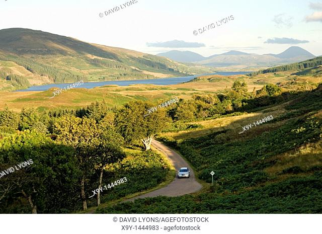 Isle of Mull, Inner Hebrides, Scotland  Car touring on country road  View S E  from Achnadrish over Loch Frisa near Tobermory