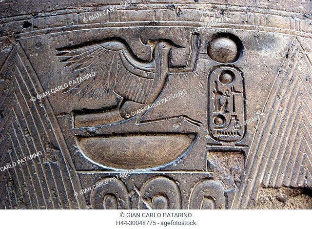 Luxor, Egypt. Temple of Luxor (Ipet resyt): the sacred bird Rekyt