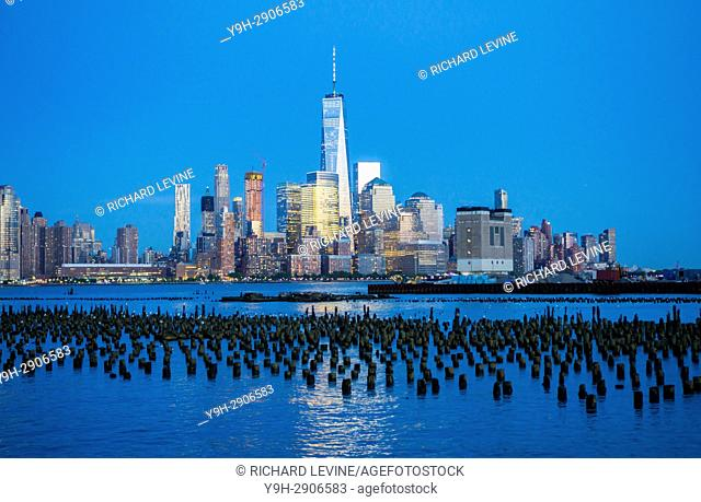 The Lower Manhattan skyline of New York with One World Trade Center