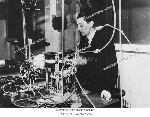 Frederic Joliot, French physicist, c1930. The apparatus is a Wilson cloud chamber. Joliot (1900-1958) became assistant to Marie Curie in 1925