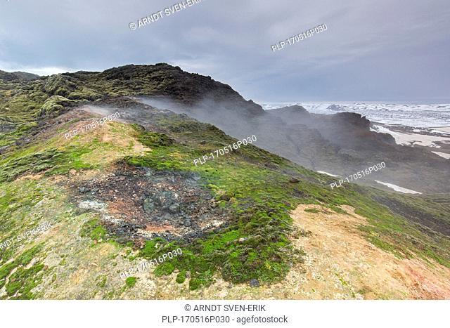 Fumarole at Leirhnjukur / Leirhnjúkur, lava field in the Krafla caldera in winter, Norðurland eystra / Nordurland eystra, North Iceland