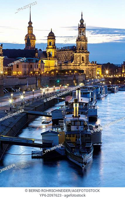 river Elbe with ships, Dresden Castle, appellate court and Dresden Cathedral at night, Dresden, Saxony, Germany